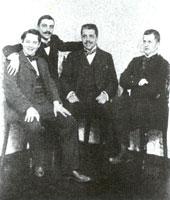 К. Сомов, В. Нувель, С. Дягилев, Д. Философов