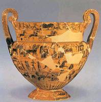 Кратер. Клитий и Эрготим. Глина. Середина VI в. до н.э. Флоренция, Археологический музей