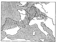 Протяженность гальштатской культурной провинции в начале V века до н. э.