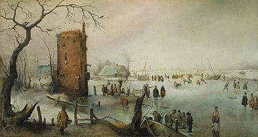 Зимний пейзаж с башней (Хендрик Аверкамп)