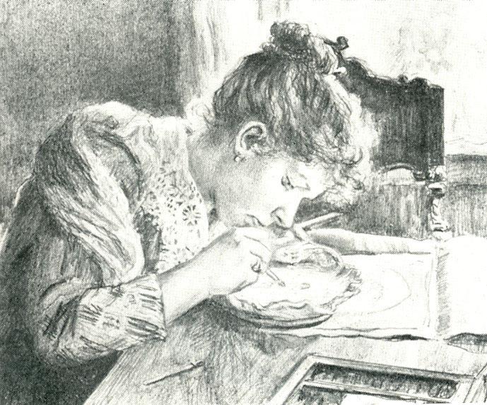1892 год. К.А. Сомов. Портрет сестры А.А. Сомовой за работой.
