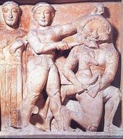 Победа Персея над горгоной Медузой. Метопа храма С в Селинунте. VI в. до н.э. Палермо, Национальный музей