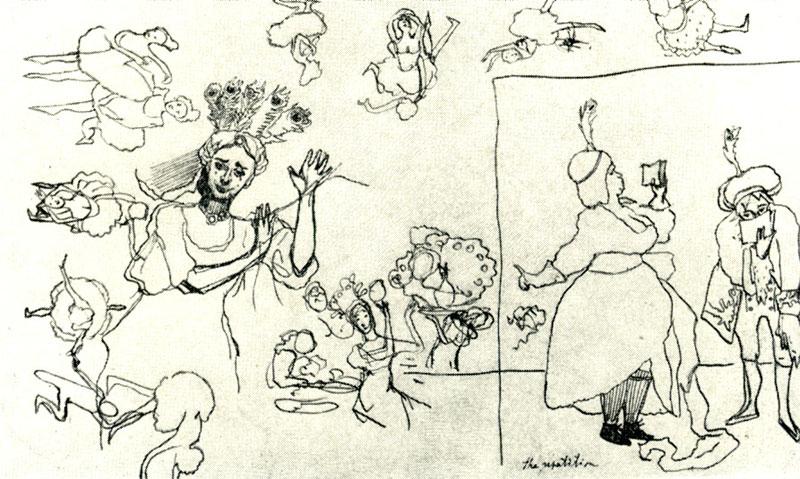 1909 год. К.А. Сомов. The repetition. Набросок.