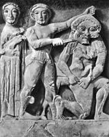 Победа Персея над горгоной Медузой. Метопа храма С в Селинунте. VI в. до н.э.