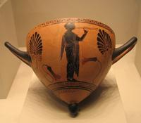 Флейтистка. Аттический чернофигурный сосуд. VI в. до н.э.