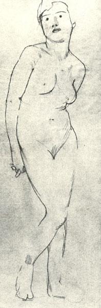 1900-1910-е годы. К.А. Сомов. Обнаженная натурщица.