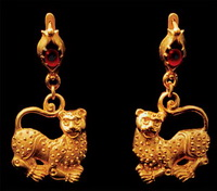 Серьги Античные (золото, литье, зернь, гранаты)