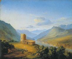 Военно-грузинская дорога близ Мцхета (Кавказский вид с саклей). М. Ю. Лермонтов. 1837 г.