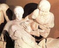 Кентавр Эвритион и Деидамия, невеста Пирифоя (Западный фронтон Храма Зевса в Олимпии)