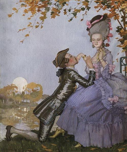 Юноша на коленях перед дамой(1916 г.)